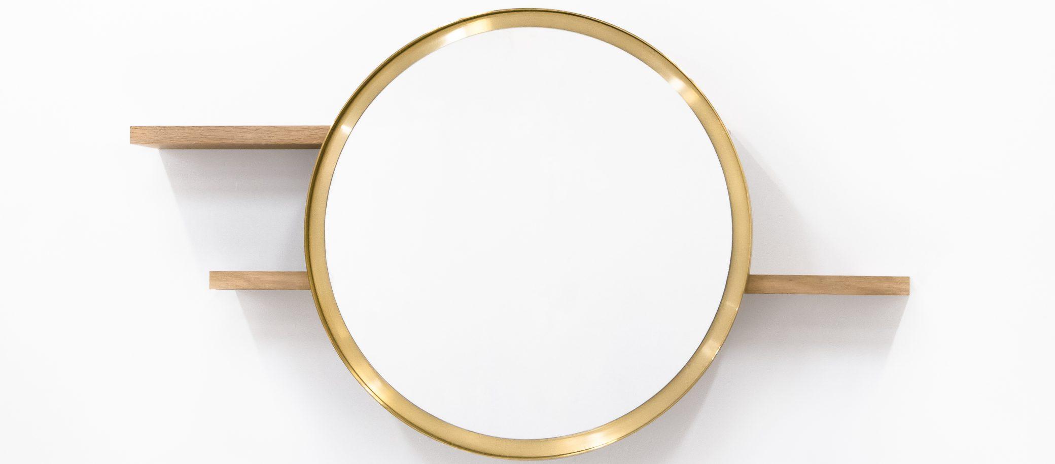 Miroir coulissant en ch ne et en laiton sunset f lsom for Disque en miroir